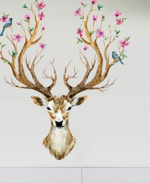 시카 사슴 배경 화면 벽 데칼 침실 거실 홈 장식 스티커 입구 책 집 크리스마스 스티커 롤