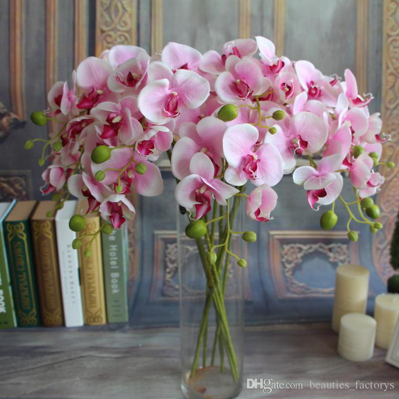 20pcs artificielle mite papillon orchidée orchidée fleur phalaenopsis Afficher fausses fleurs salle de mariage décor à la maison 8 couleurs