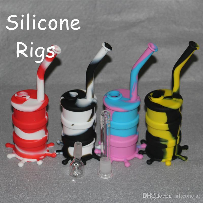 Mini Silicone Dab Rigs Rigs En Silicone et Tambour À Huile En Silicone Rigs 10 couleurs pour le choix livraison gratuite DHL