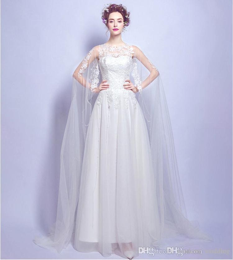 متواضع بسيط فستان الزفاف الأبيض الرباط الطابق طول 2016 جميل ألين أثواب الزفاف خمر نمط الرباط يزين vestido دي noiva