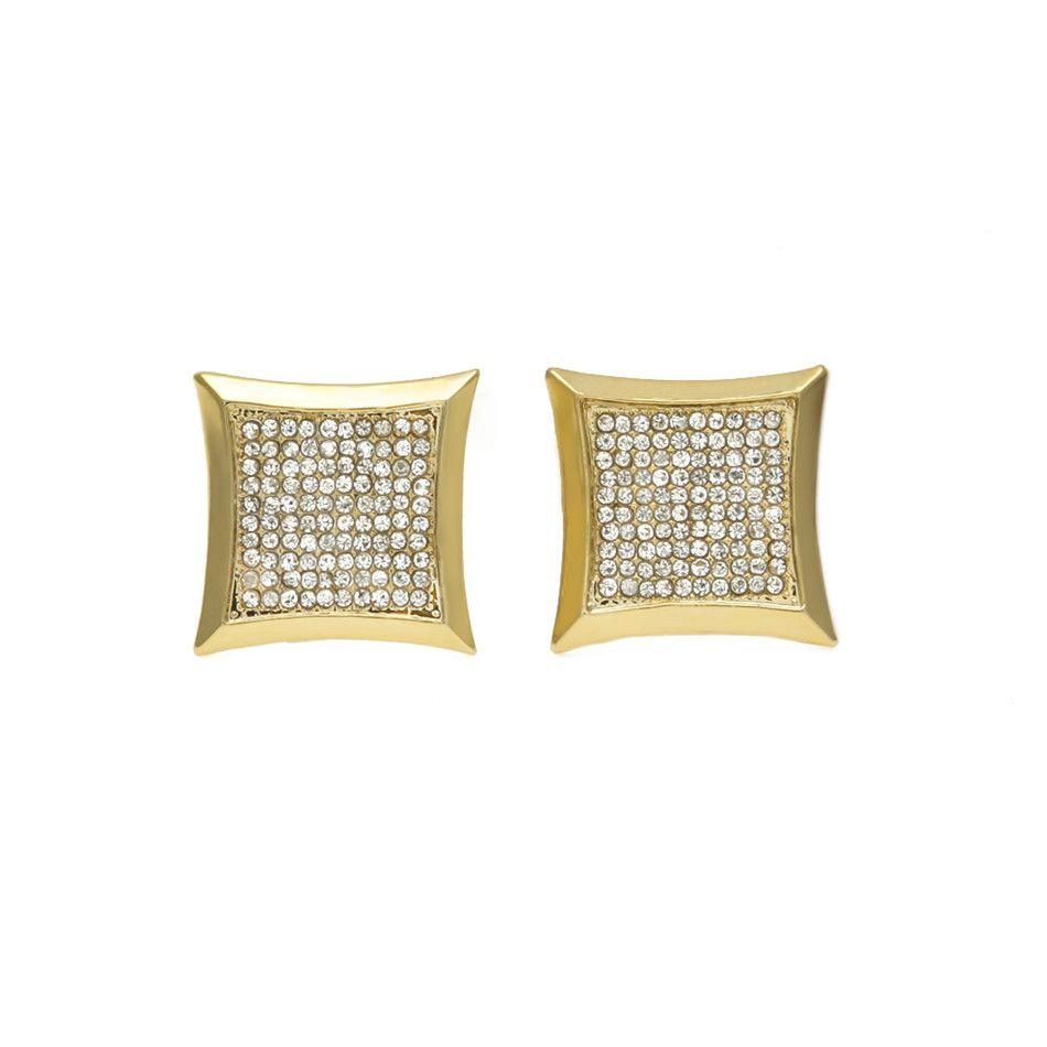 Orecchino Hip Hop Rame Nichel Lustro CZ Strass Cristallo Colore oro Forma quadrata Orecchini Gioielli donna 15x15mm