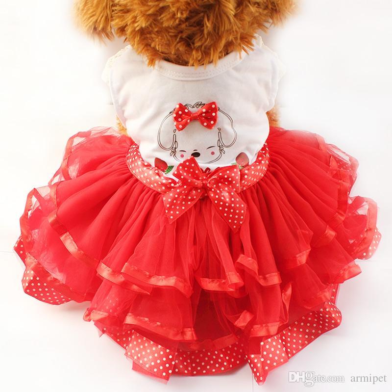 armipet Cartoon Puppy Pattern Dresses For Dogs Girl Dog Dress 6071031 Pet Princess Skirt Clothing Supplies XS, S, M, L, XL