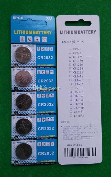 CR2032 3V Lithium-Knopfzellenbatterie für PCB 5PCS pro Blisterkartenpackung, 2500pcs (500cards) / lot