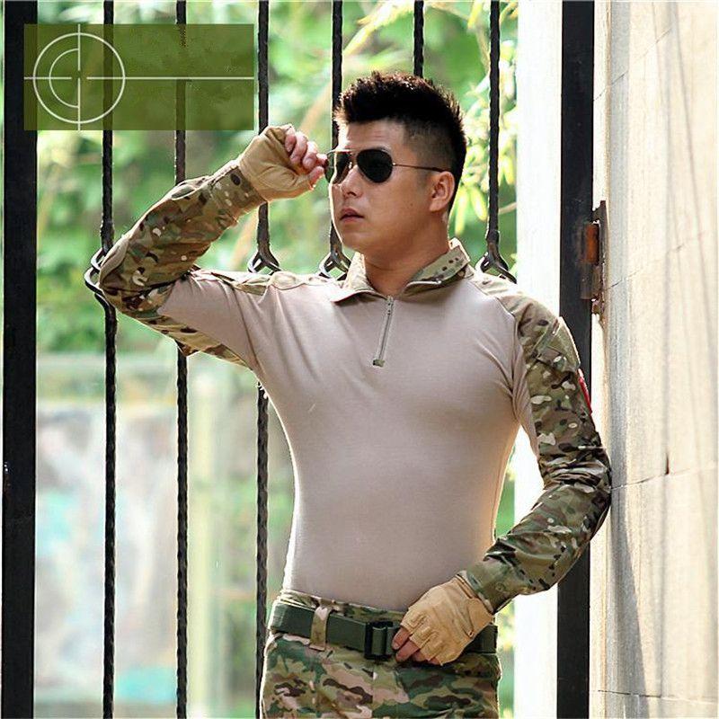 Printemps Automne Europe Chine US Army Combat Camouflage militaire Chemise Multicam Uniforme Militar Chemise rapide de chasse sec vêtements tactique boutonnières