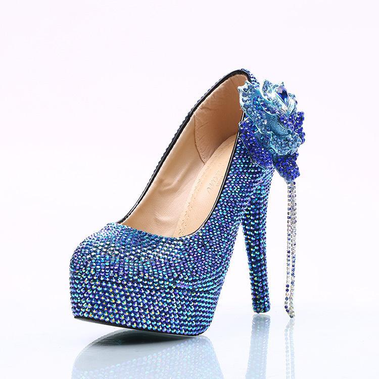 Großhandel Königsblau Kette Blume Cinderella Schuhe Prom Abend High Heels Strass Strass Brautjungfer Handgefertigte Hochzeitsschuhe Von Sunnybaburam,