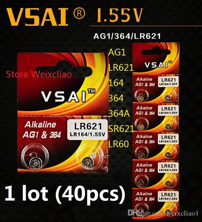 40pcs 1 lot AG1 LR621 164 364 364A SR621 LR60 1.55V pile bouton alcaline pile de la batterie piles VSAI Livraison gratuite