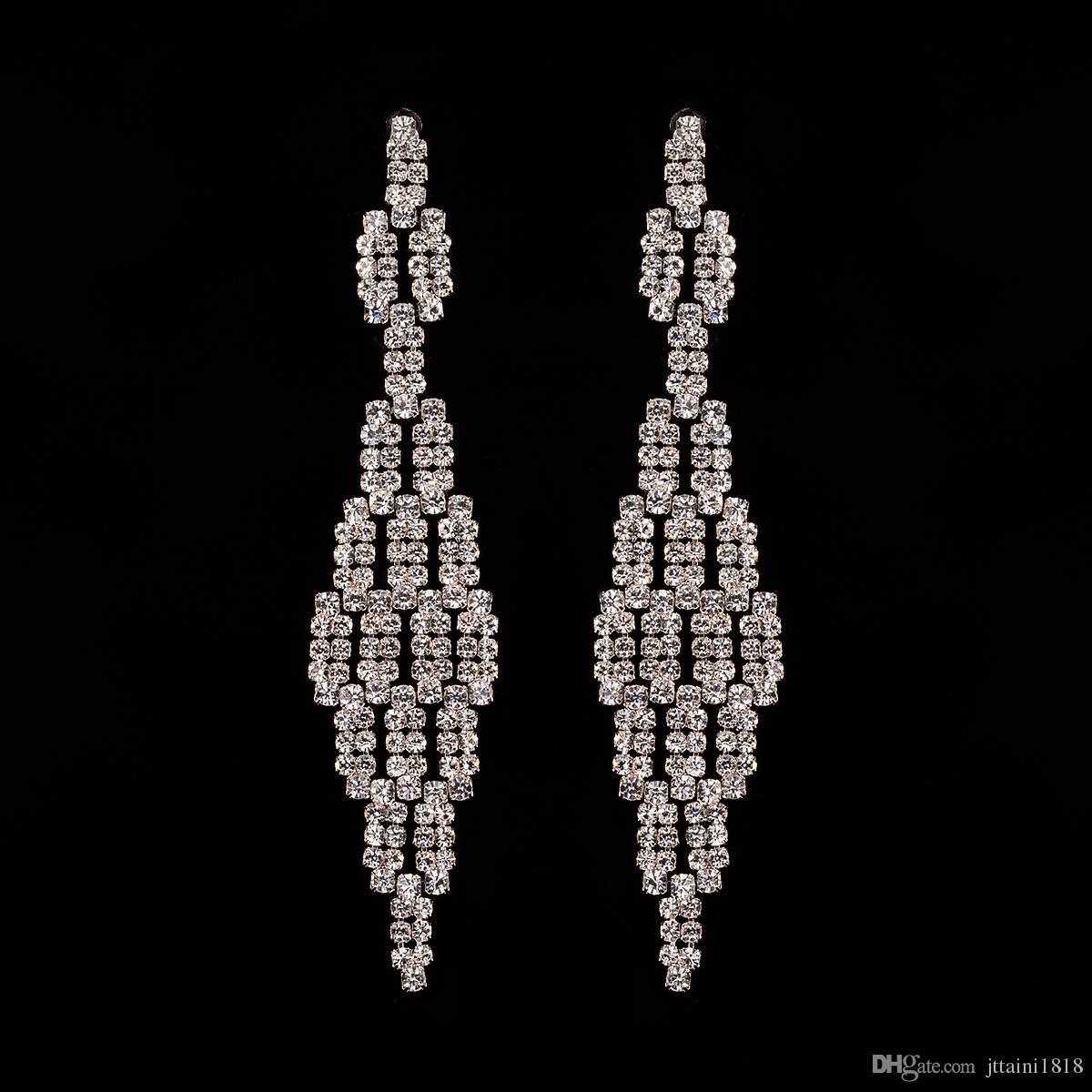 2017 Nuevo Encanto de la Manera de Las Mujeres Stud Pendientes de La Joyería Clásico Largo Muchos Pequeños Accesorios de diamantes de Imitación al por mayor La muchacha un regalo