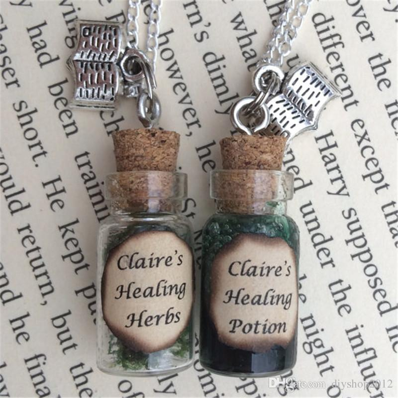 12pcs/lot Clarie's Healing Herbs Healing Potion Bottle Necklace Pendant inspired by Outlander