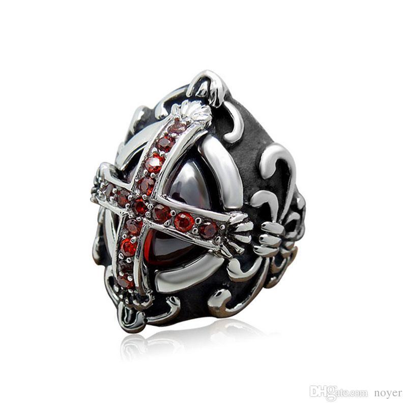 Men's vintage red gemstone stainless steel rings gothic cross titanium steel metal mixed rings jewelry accessories