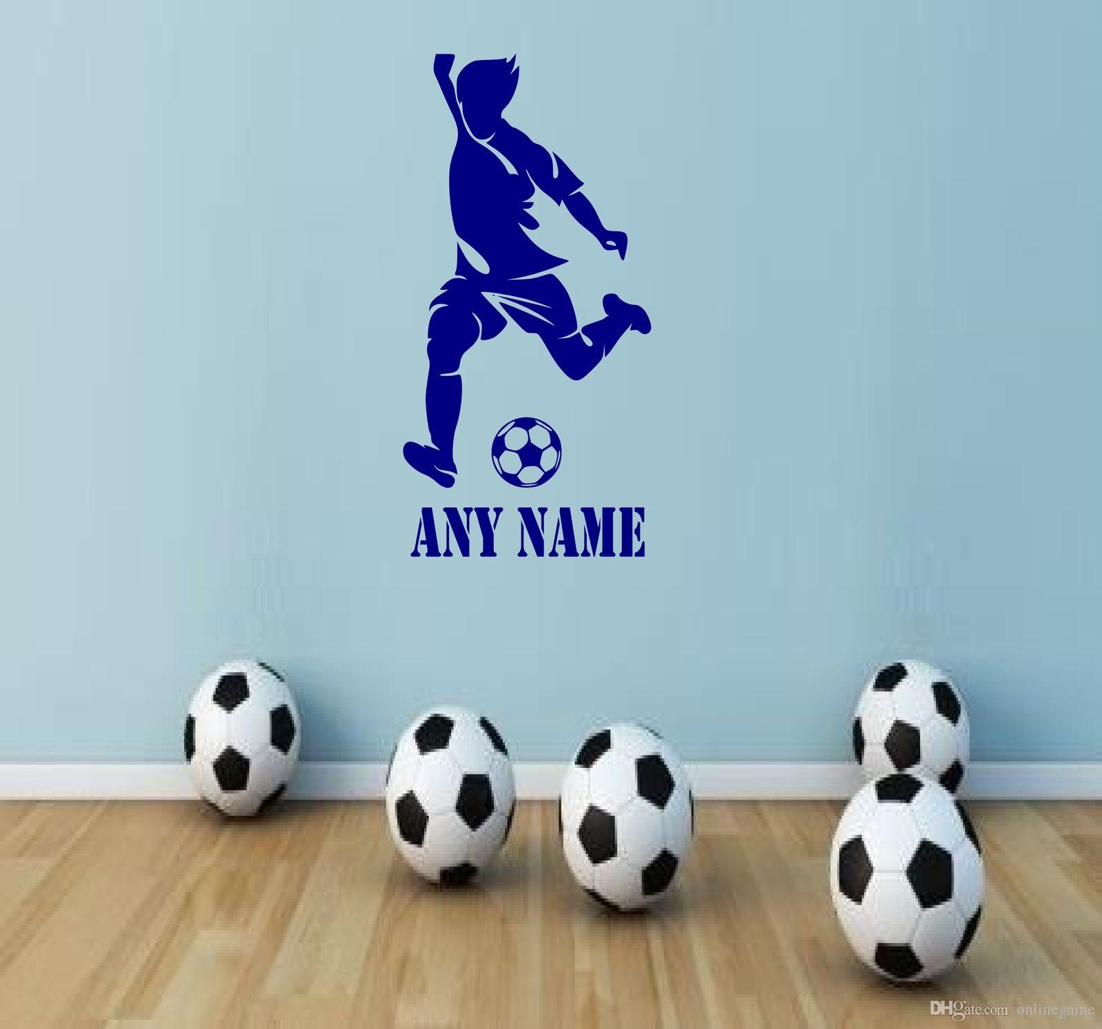 Personalised Football Player Vinyl Wall Sticker Any Name Art Decal Custom Gift Home Boys rooms Decor 30*60//45*90 cm