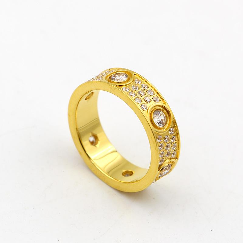 2017 Top Quality 316L acciaio al titanio Love rings amanti Band Rings Size per donne e uomini in larghezza 6mm con tre linee di gioielli con diamanti