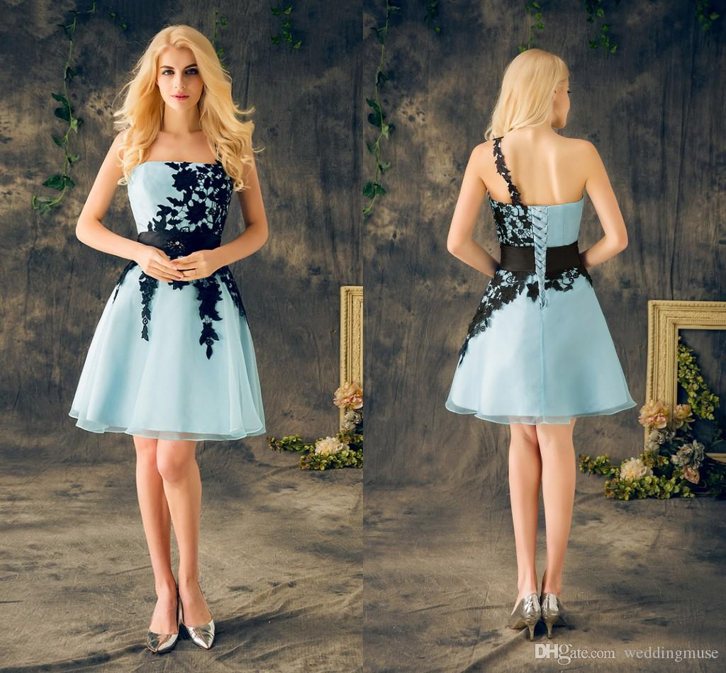 2020 Real Short Homecoming Dresses Light Sky Blue With Black Appliques Lace One Shoulder Cheap Party Dress