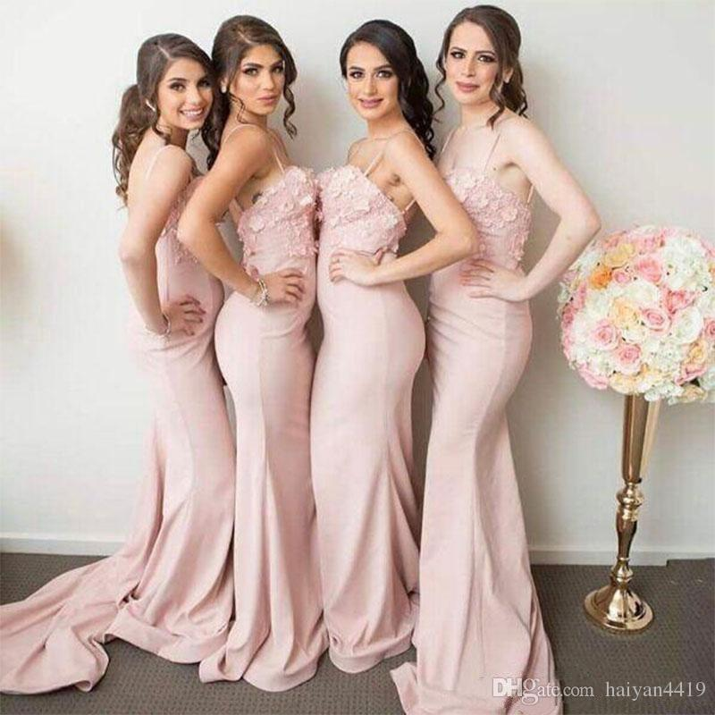 Bridesmaid Dresses 2017 African Blush Pink Spaghetti Straps For Weddings Lace Appliques Flowers Mermaid Long Plus Size Maid of Honor Gowns