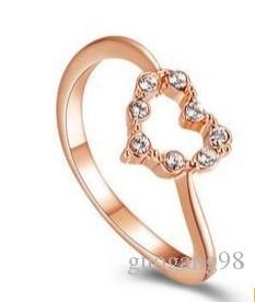 золото Кристалл сердце Леди кольцо всех размеров (yt-jd ) jkhj
