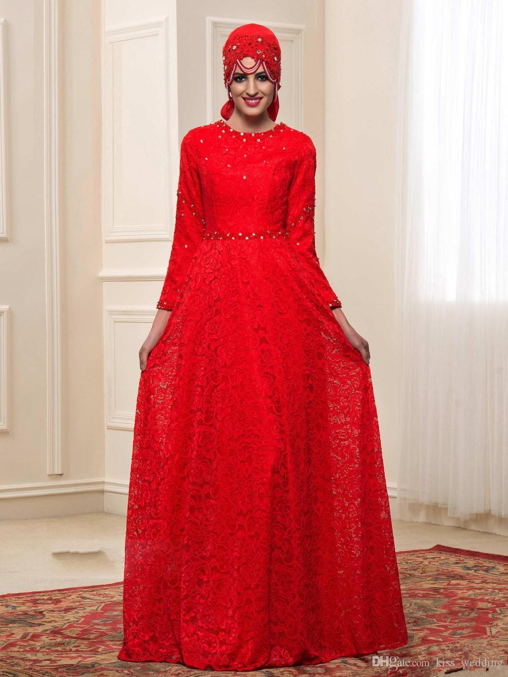 Traditional Lace Muslim Arabic Wedding Dresses Long Sleeves Hijab Islamic Weddings Gown Bridal Formal Wear With