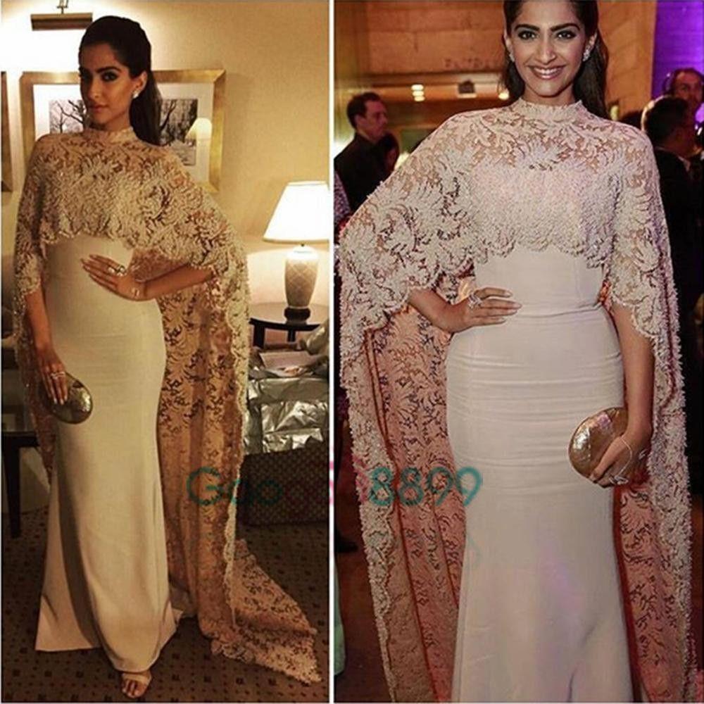 Sonam Kapoor in Paolo Sebastian High Neck Dubai Kaftan nude Lace Cape Muslim Evening Dress 2019 Islamic Arabic long sleeve prom Formal Gown