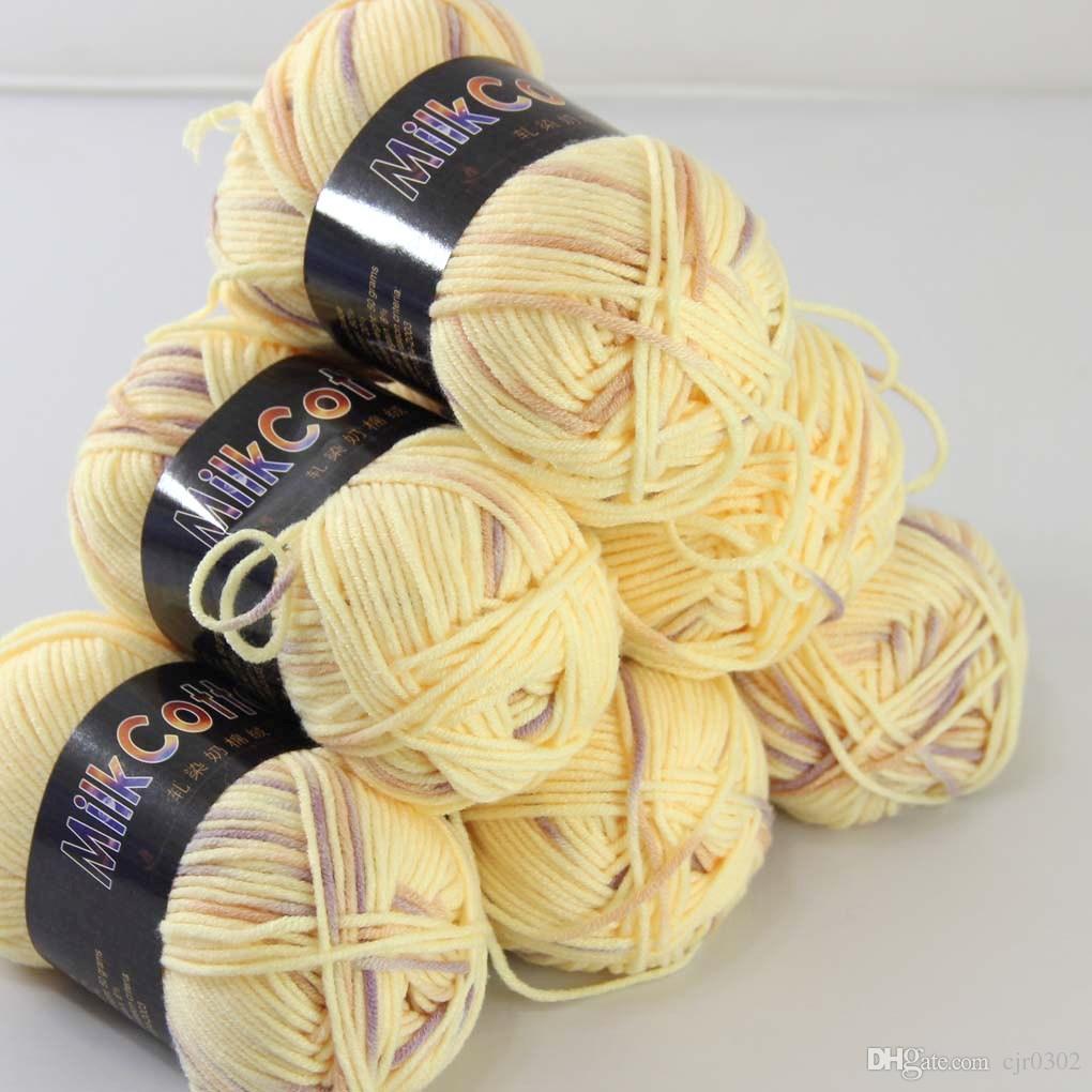 Miękkie 6BALLSX50G Newcotton barwione ręcznie dziewiarskie skarpetki wełniane Scarf Baby Yarn Goose Yellow 08