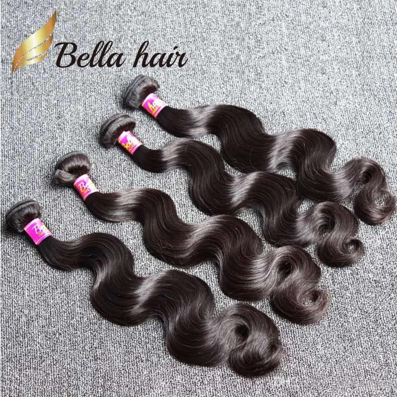 BellaHair® 8-30 inch Brazilian Weft 4 Bundles Unprocessed Human Hair Natural Black Color Body Wave