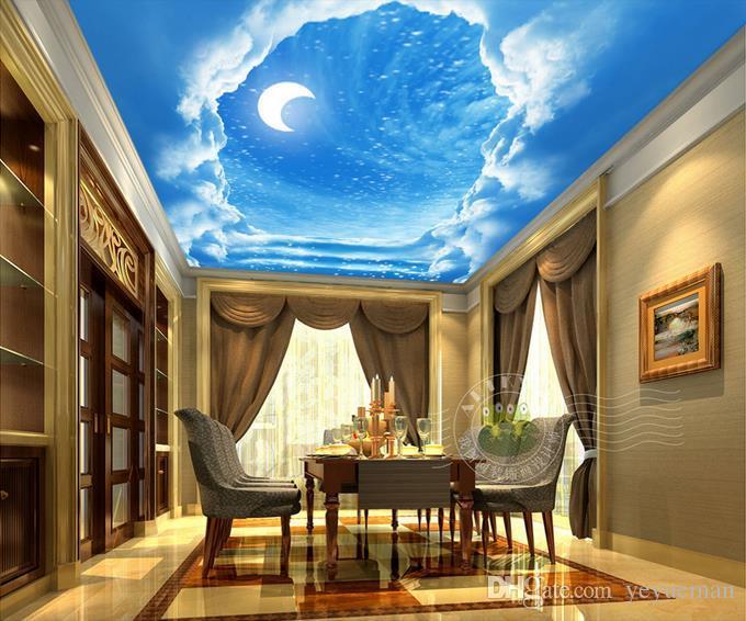papel pintado para techos blue sky moon d papel pintado de sala d techo de