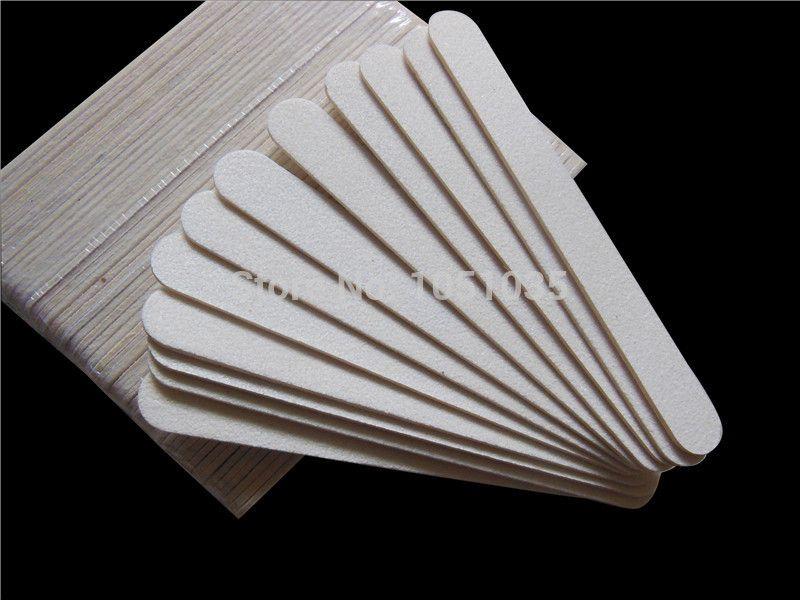 """All'ingrosso-Spedizione gratuita 100 pezzi di legno bianco per unghie 80/80 legno di smeriglio bordo 5 """"nail file manicure strumento"""