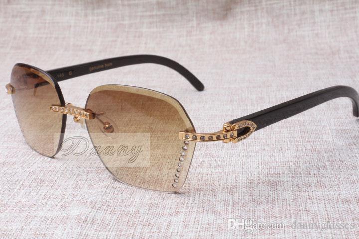 2019 Yeni Stil Yüksek Kalite Trendy Elmas Siyah Sığır Boynuz Güneş Gözlüğü 8100909 Erkek ve Kadın için Gümüş Kahverengi Lens, Boyutu: 60-18-140mm