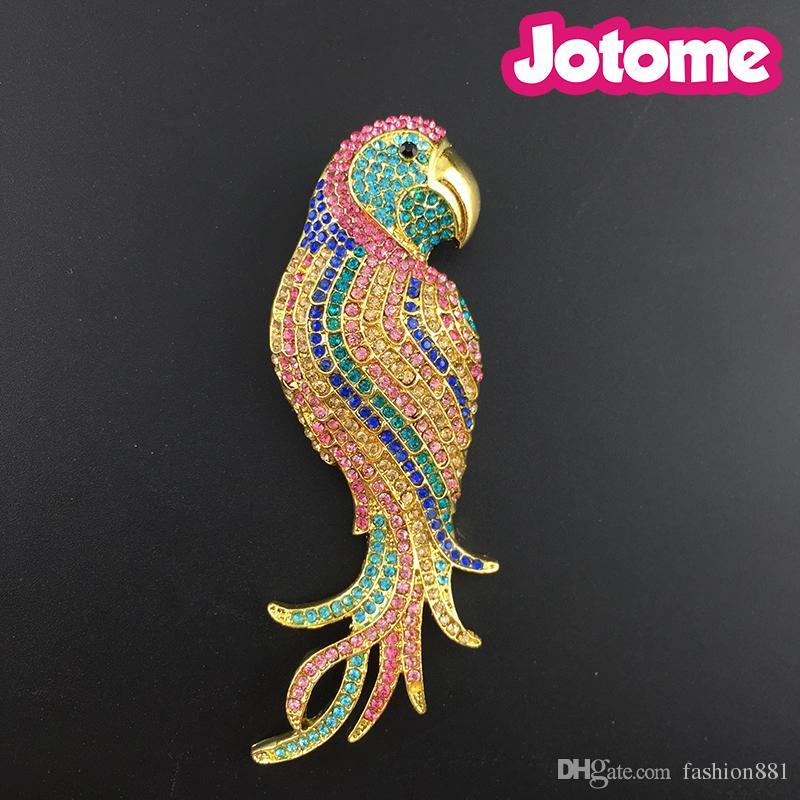 Spilla a forma di pappagallo vintage in cristallo austriaco, spilla in cristallo multicolore con uccello di pappagallo