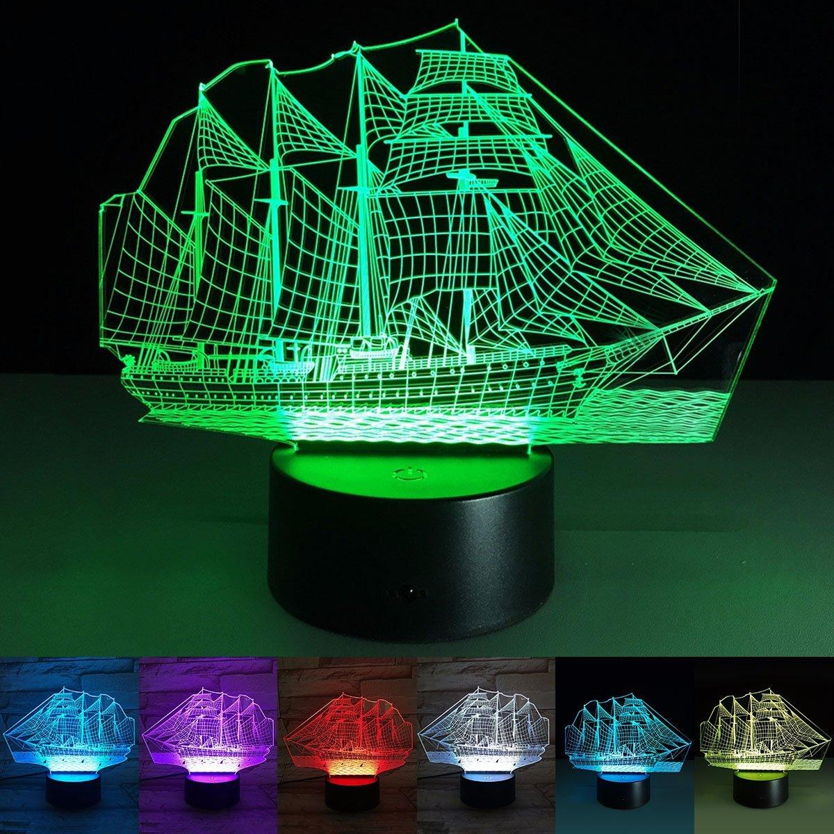 3D Optical Illusion Touch Night Light LED Desk Lamp Art Piece with 7 changing Colors, USB Powered