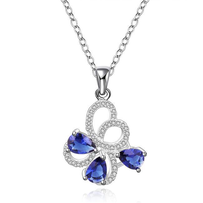 miglior regalo Collana con gioielli in argento sterling con fiore blu con diamante blu per donna WN554, belle collane con pendente in argento 925 con catena