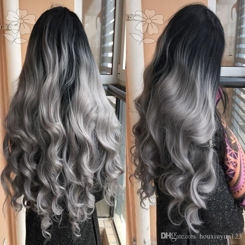High Quality Silver Grey Body Wave Wigs Natural Black/Silver Gray 2 Tone Ombre Synthetic Lace Front Wig Heat Resistant Hair Women Wigs