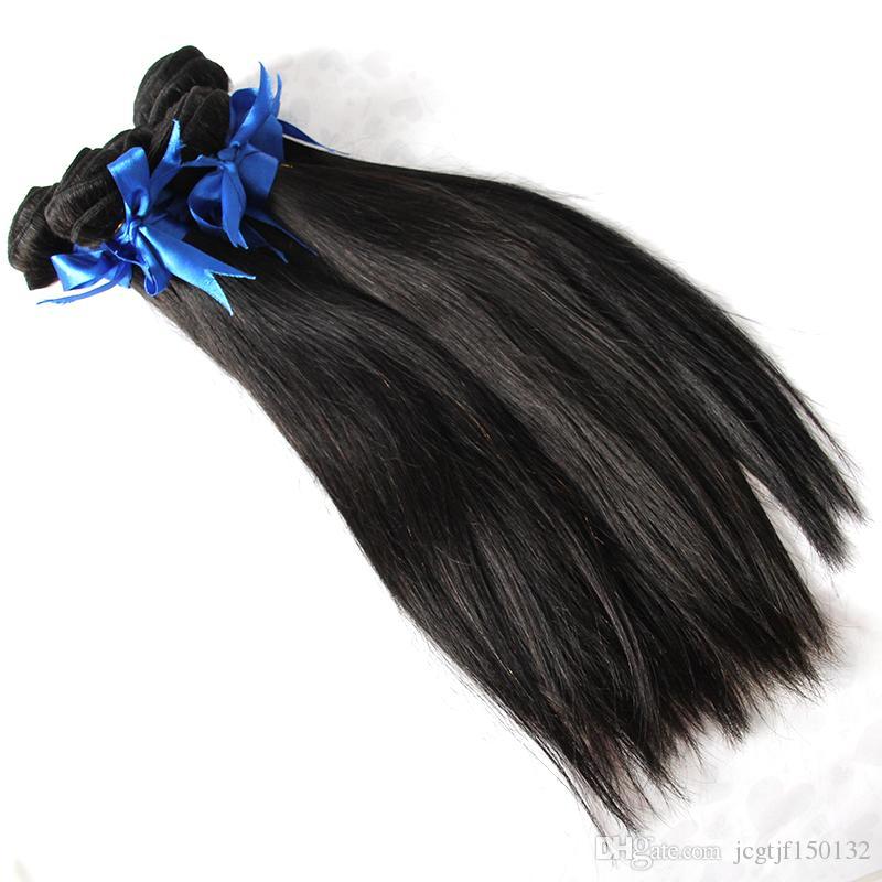 Weave Bundles Straight Remy Human Hair Weaving Extensions 500g 5pcs 100% Human Hair Weave Natural Black Color 1b