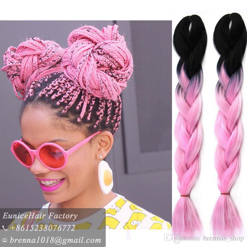 24Inch Ombre Kanekalon Braiding Hair Extensions Two Tone High Temperature Synthetic Jumbo Braid box braids havana curly Hair 100g/pcs