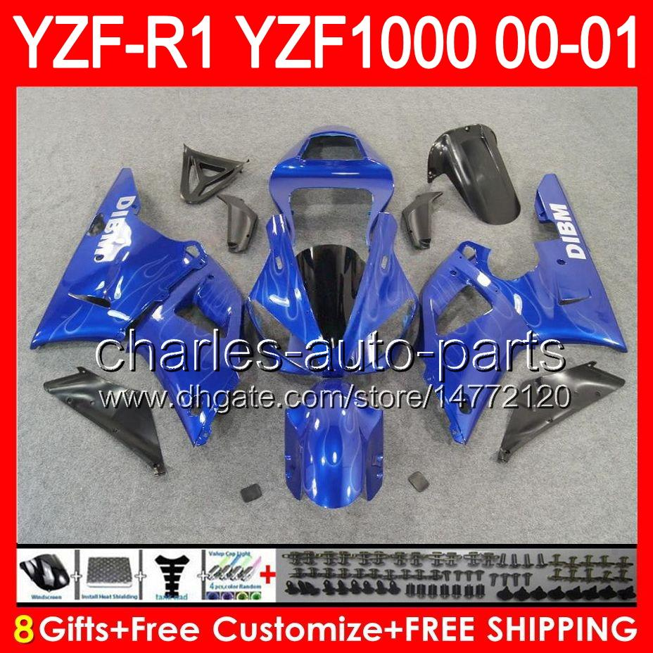 gloss blue 8gifts Corpo Para YAMAHA YZF R1 00 01 YZF1000 YZF-R1 00-01 91NO36 YZF 1000 YZF-1000 YZF R 1 YZFR1 2000 2001 SUPERIOR azul preto Carenagem