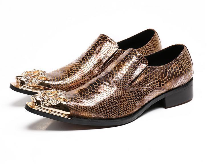 Colore dorato punta a punta in metallo argento nuovi uomini in pelle scarpe da sera da sera scarpe da sposa sexy scarpa plus size 12