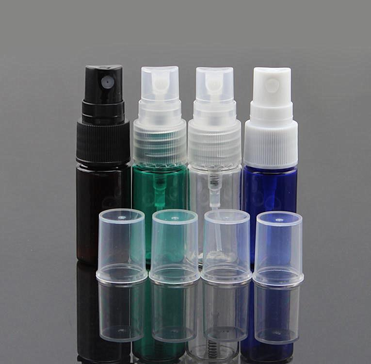 Wholesale- Hot Sale New Small Spray Bottles Multiple Colour 50Pcs/Bag 10ml Empty Perfume Cosmetic PET Atomizers Make Up Skin Toner Bottle