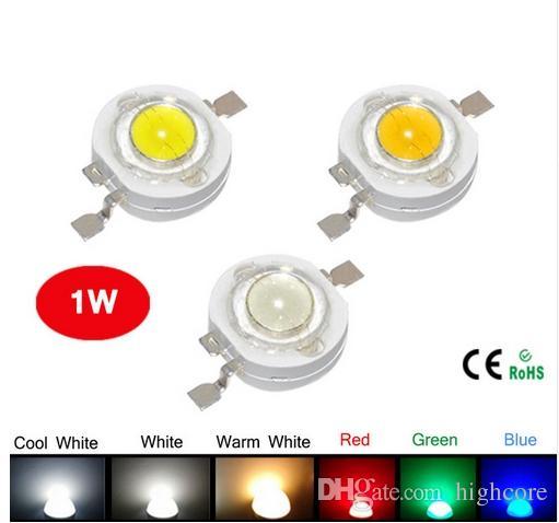 السلطة العليا الصمام شرائح 45mil LED مصباح 5 ألوان R / G / B / CW / WW 3 إلى 4V 1W 350MA 120LM