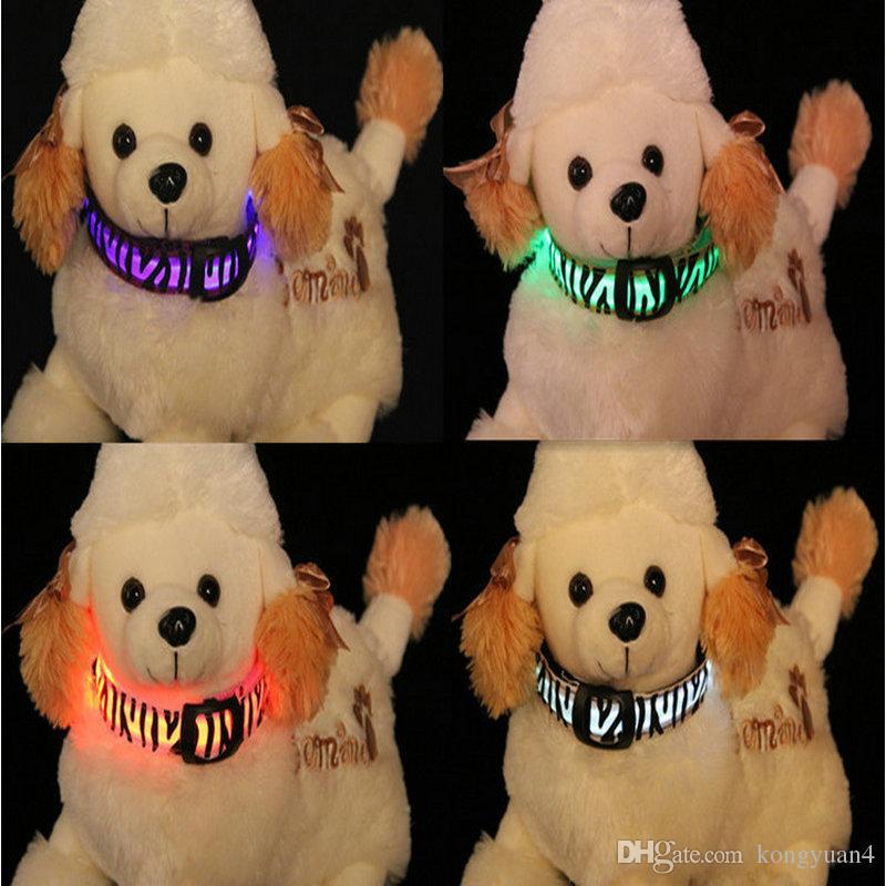 Zebra Haustier Hund LED Kragen Glow Cat Halsbänder Flashing Nylon Hals Light Up Training Kragen für Hunde