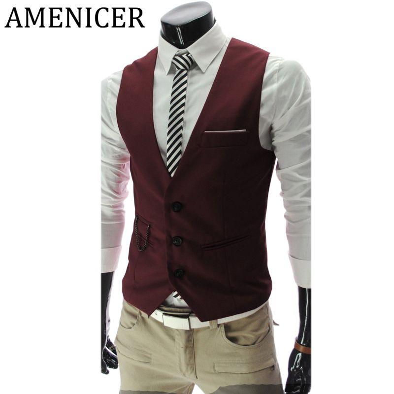 Vente en gros - Mens Suit Vest coréen British Style Business Dress Costumes sans manches gilets vin rouge Slim Fit Gilet Tactical Male Winter Jacket
