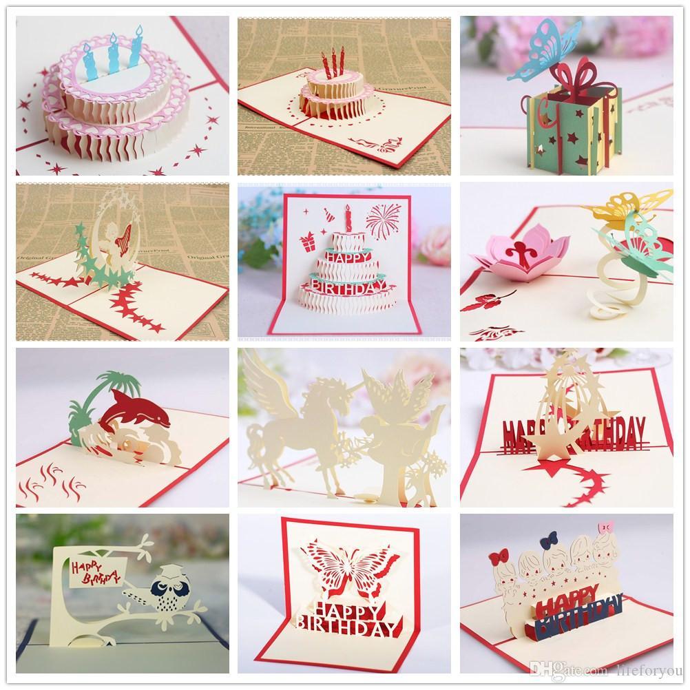 زخارف حفلة عيد ميلاد للأطفال بطاقات المعايدة حفلة عيد ميلاد تفضل بطاقات عيد ميلاد 3D المنبثقة بطاقات المعايدة 12 أنماط في الكثير