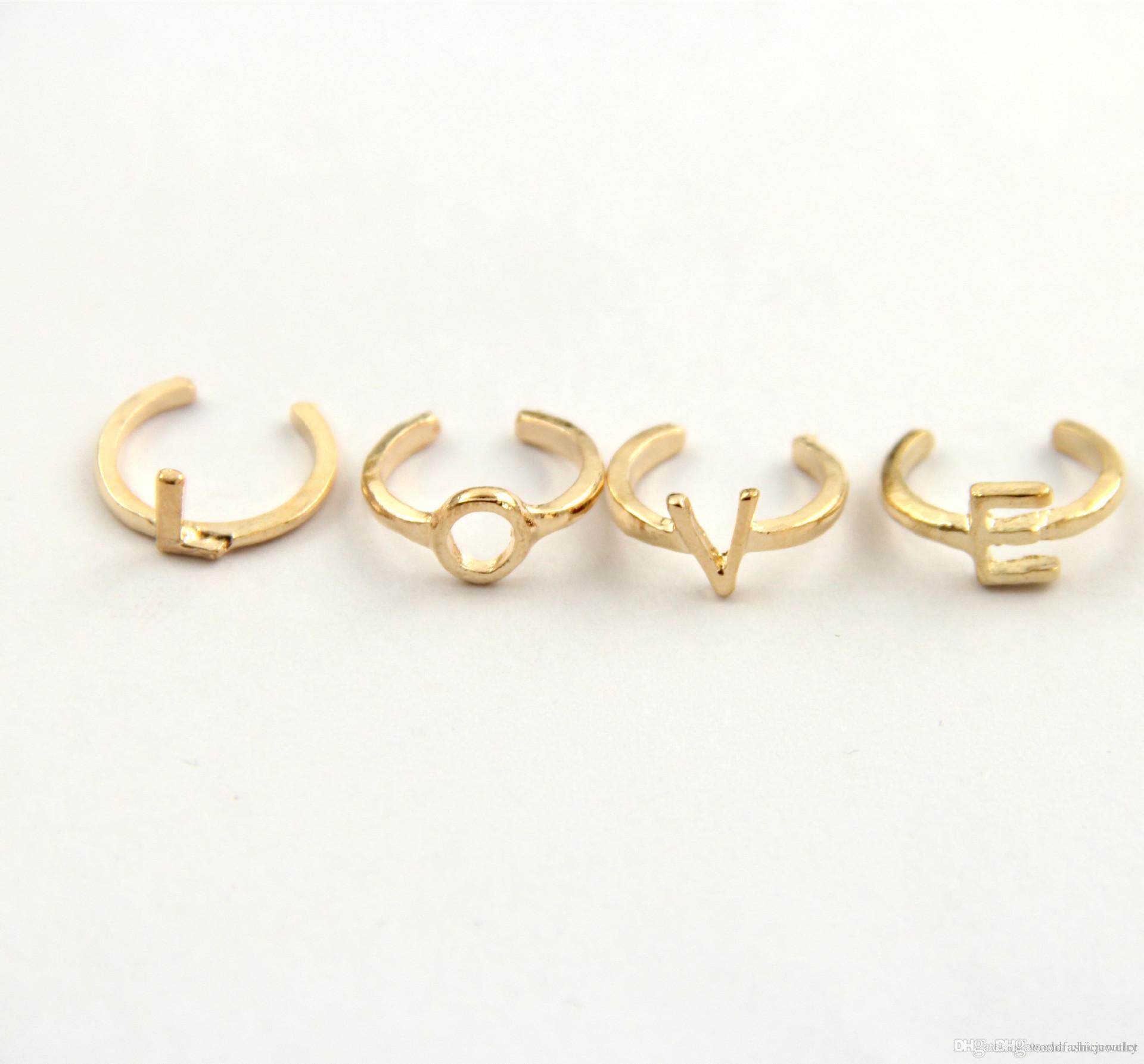 4Pcs / Set-Frauen-Partei Ringe Aufeinander Finger über Midi Tip Finger über Knöchel schellt einzigartiger Ring Set Punk LIEBE Knuckle Ring-freies Verschiffen DHL