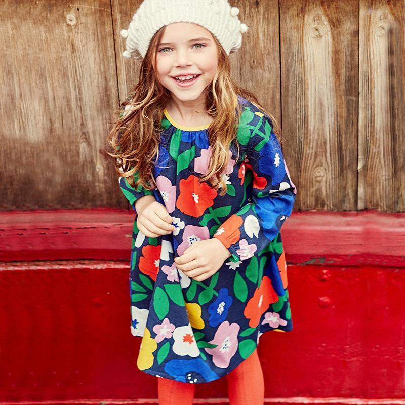 فتاة فلورا كم طويل اللباس الاطفال ملابس القطن جديد الخريف الفتيات فساتين ملابس الطفل طباعة جميلة الأميرة اللباس فتاة