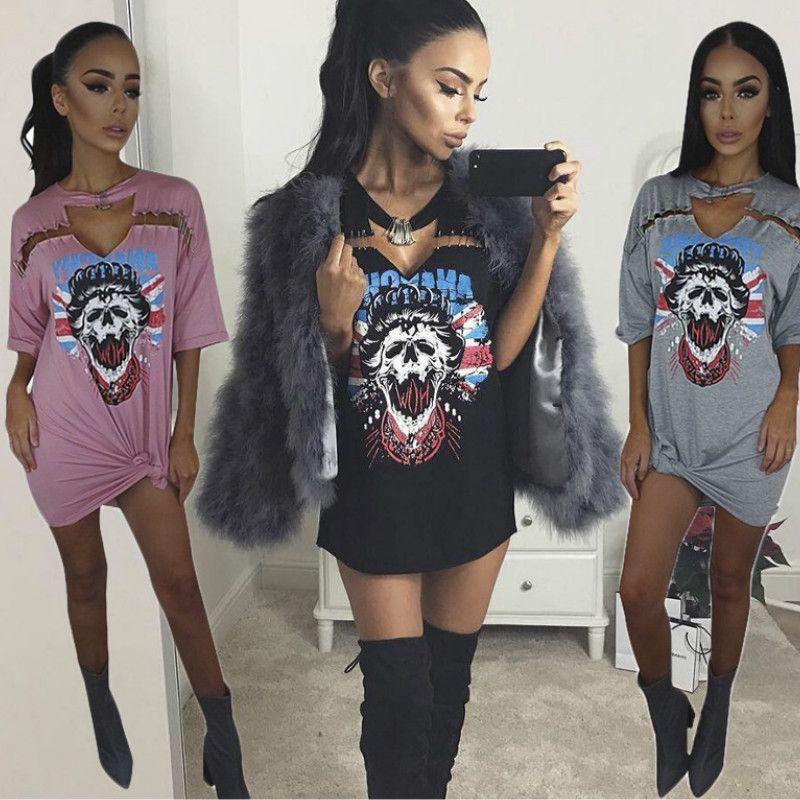 Rock Style Vintage Donne manica corta maglietta lunga Vestitino Aquila Motorcycle Stampa Punk Girl partito casuale Tee Tops abito estivo vestido