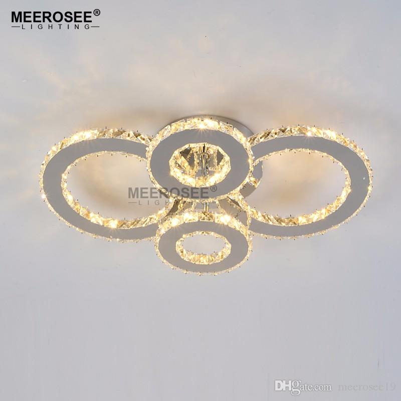 Modern LED Avizeler Işık Paslanmaz çelik Shining Kristal Lamba Oturma Odası için Elmas Yüzük LED Cilalar Lamparas de techo Aydınlatma