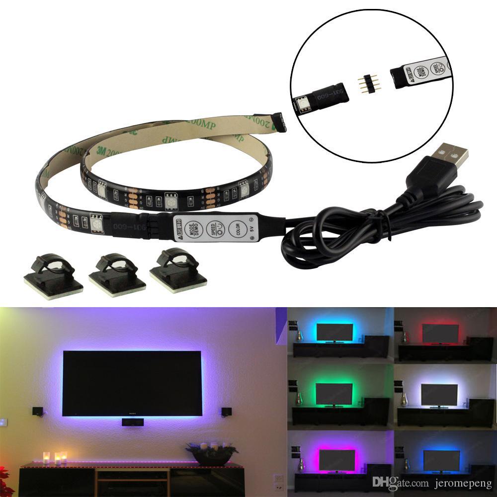 5V USB RGB LED شرائط ضوء TV أسود PCB ماء 1M 30 المصابيح SMD 5050 مع RGB تحكم مصغرة لجهاز الكمبيوتر حالة خلفية الكمبيوتر