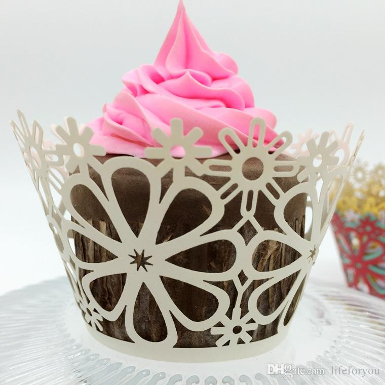 100pcs Lace Cupcake Wrappers for Weddings Baby Birthday Tea Pink