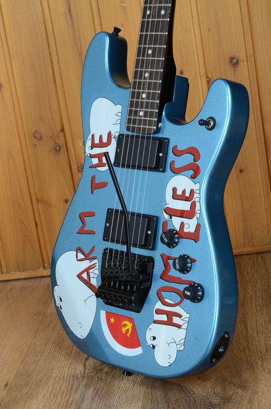 Custom Tom Morello Arm Бездомная металлическая синяя электрическая гитара EMG Pickups, Black Floyd Rose Tremolo Bridge, White MOP Dot Fingerboard Inlay