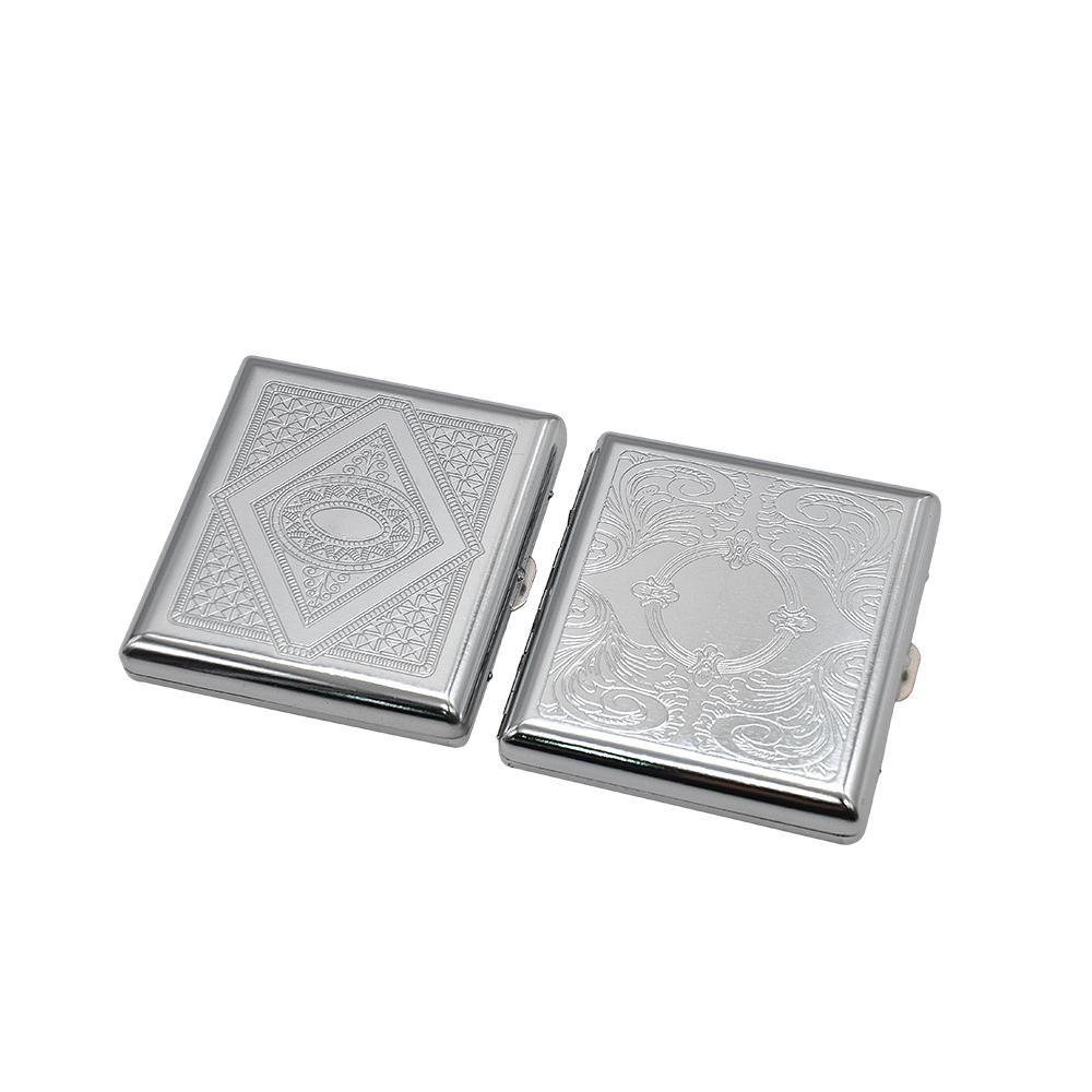 1 x Edelstahl doppelseitig Zigarettenspeicherfall Crush-Proof-Chrom-Zigarettenetui und kann das Logo anpassen