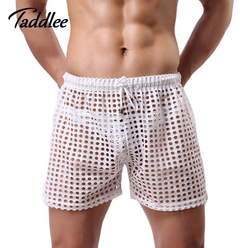 Wholesale-2020 Männer Shorts Retro Sheer durchschauen Homosexuell Penis Man Shorts Schlaf Bottoms Nachtwäsche Herren Shorts beiläufige Freizeit Heim Wear