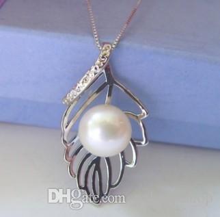 3 pcs maravilhoso cristal inlay pérola folha pingente de colar de corrente 168dgth