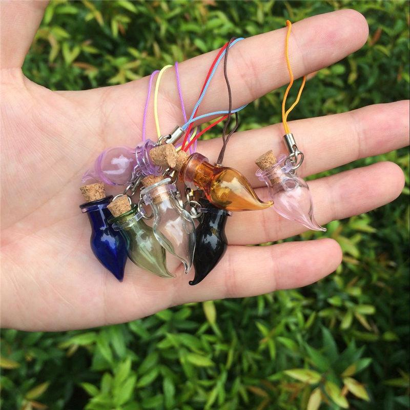 Mini Glass Color Bottles Pendants Key Chains Lobster Clasp Pepper Bottles Corks Glass Arts Jars For Bracelets (3)