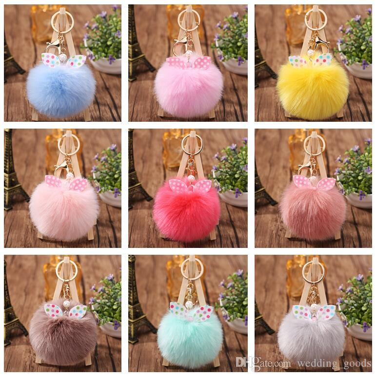 New arrival Bow knot hair ball bag pendant cute plush key chain car keychain KR358 Keychains mix order 20 pieces a lot